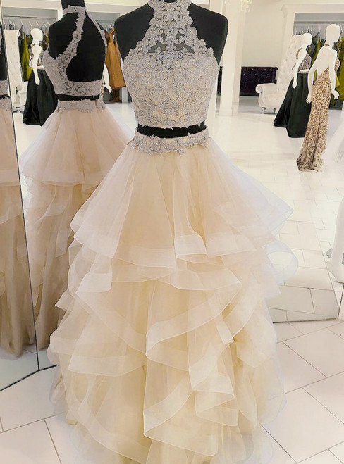 A-Line Two Piece Champagne Halter Tulle Backless Prom Dress