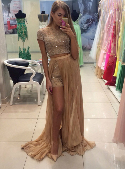 Beading Crystals Two Piece Short Pants With Detachable Skirt Short Sleeve Prom Dress
