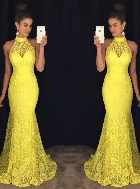 Halter Lace Evening Dresses,Yellow Lace Dresses Evening 2017