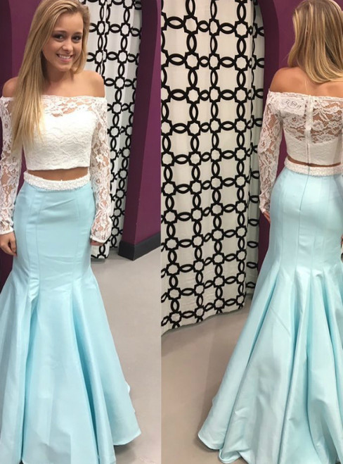 Two Piece Off the Shoulder White Lace and Ice Blue Mermaid Long Prom Dress
