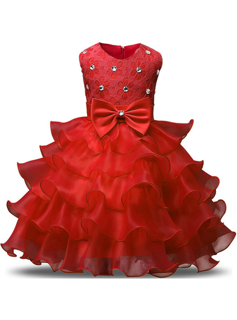In Stock:Ship in 48 hours Red Organza Lace Flower Girl Dress