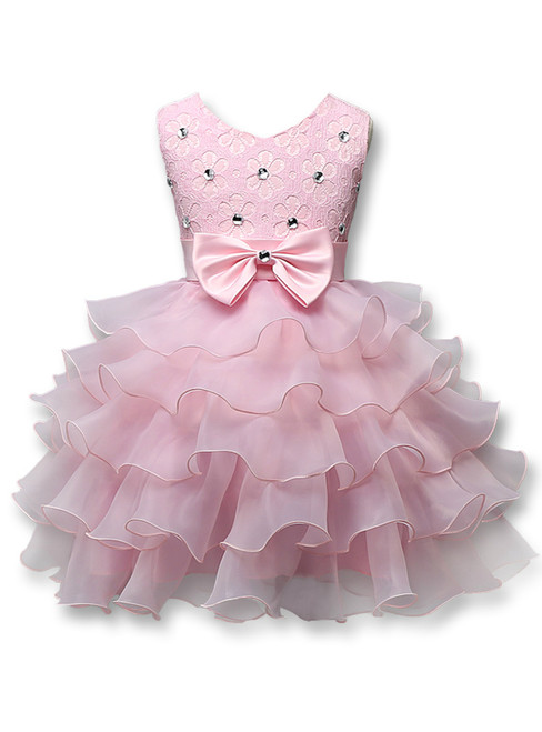 In Stock:Ship in 48 hours Pink Organza Lace Flower Girl Dress