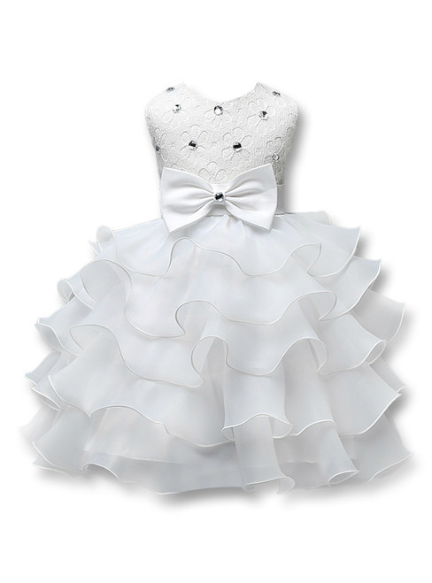 In Stock:Ship in 48 hours White Organza Lace Flower Girl Dress