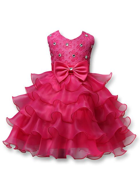 In Stock:Ship in 48 hours Fuchsia Organza Lace Flower Girl Dress