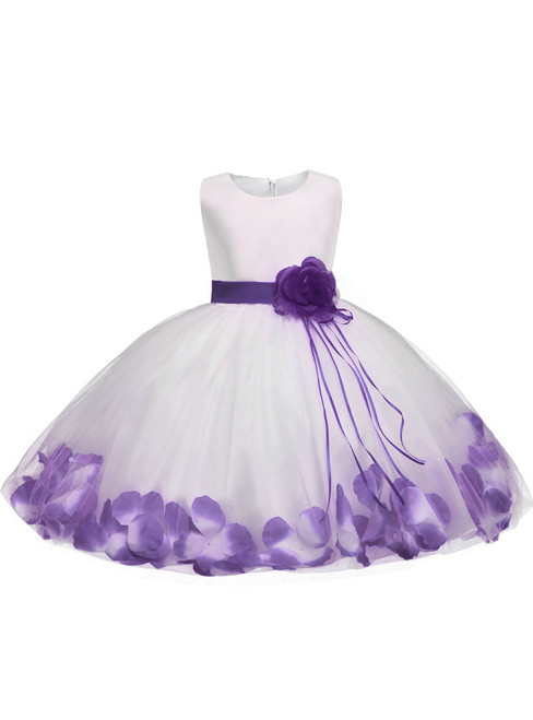 In Stock:Ship in 48 hours Purple Satin Tulle Flower Girl Dress