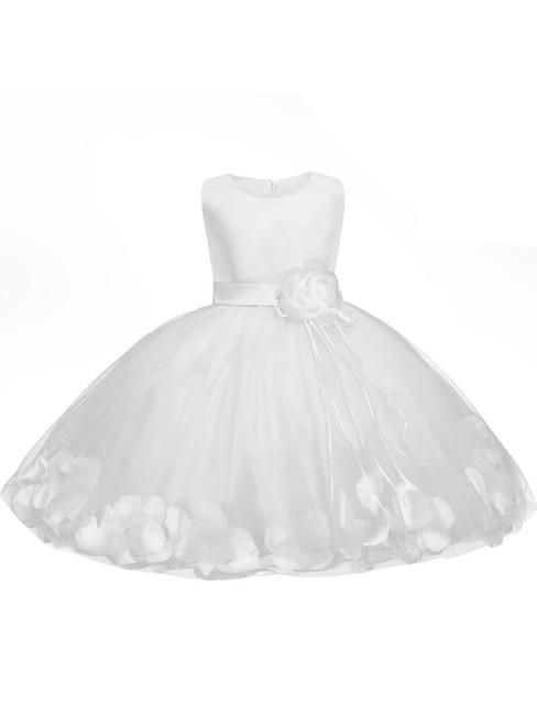 In Stock:Ship in 48 hours White Satin Tulle Flower Girl Dress