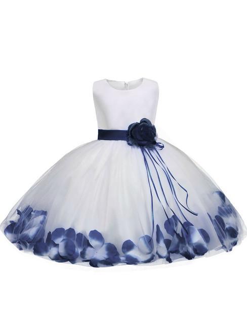 In Stock:Ship in 48 hours Blue Satin Tulle Flower Girl Dress