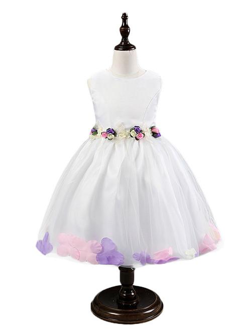In Stock:Ship in 48 hours White Flower Tulle Flower Girl Dress
