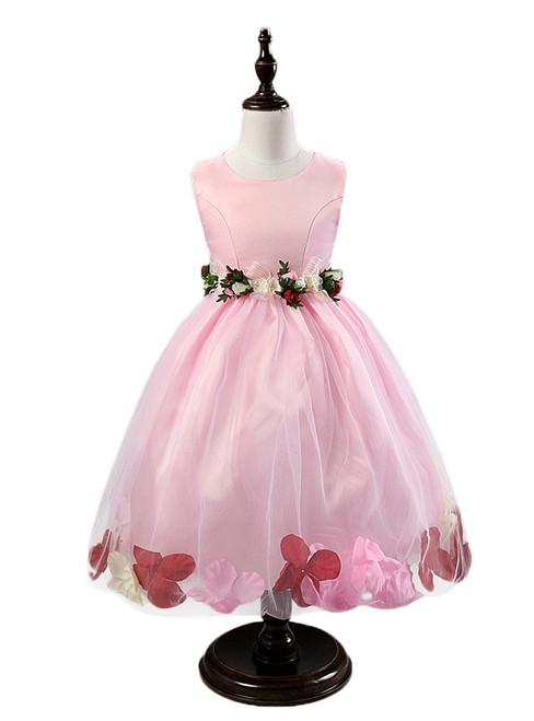 In Stock:Ship in 48 hours Pink Flower Tulle Flower Girl Dress