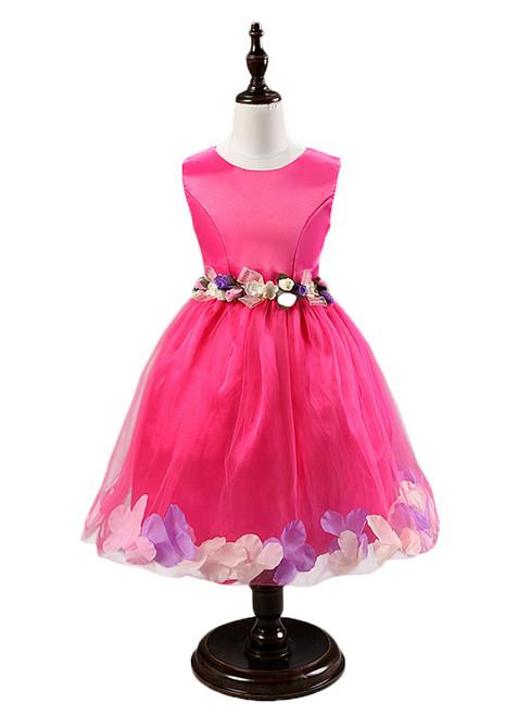 In Stock:Ship in 48 hours Fuchsia Flower Tulle Flower Girl Dress