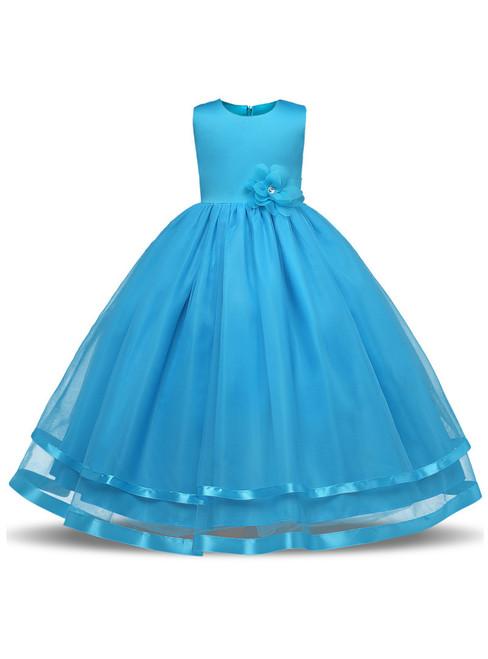 In Stock:Ship in 48 hours Blue Tulle Floor Length Flower Girl Dress