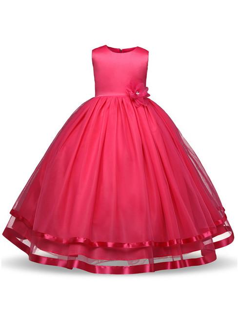 In Stock:Ship in 48 hours Fuchsia Tulle Floor Length Flower Girl Dress