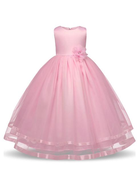 In Stock:Ship in 48 hours Pink Tulle Floor Length Flower Girl Dress