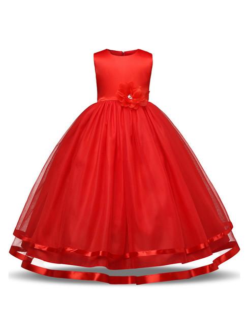 In Stock:Ship in 48 hours Red Tulle Floor Length Flower Girl Dress