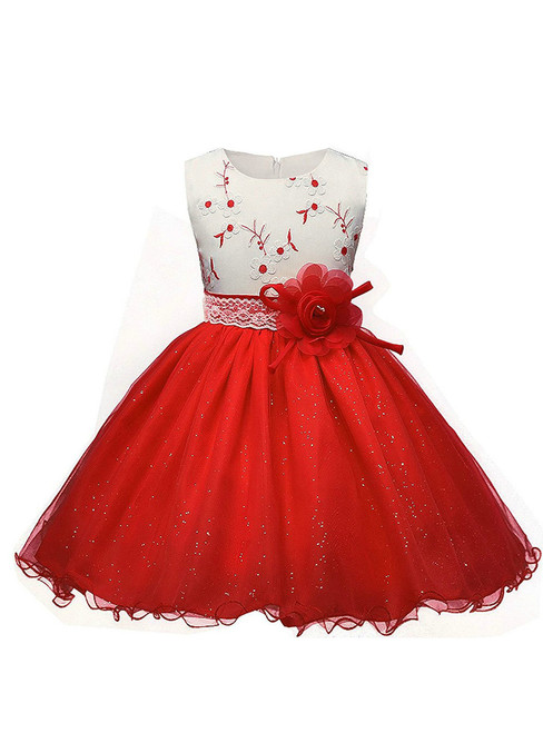 In Stock:Ship in 48 hours Red Tulle Appliques With Flower Girl Dress