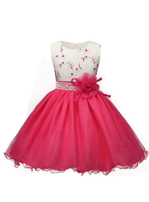 In Stock:Ship in 48 hours Pink Tulle Appliques With Flower Girl Dress