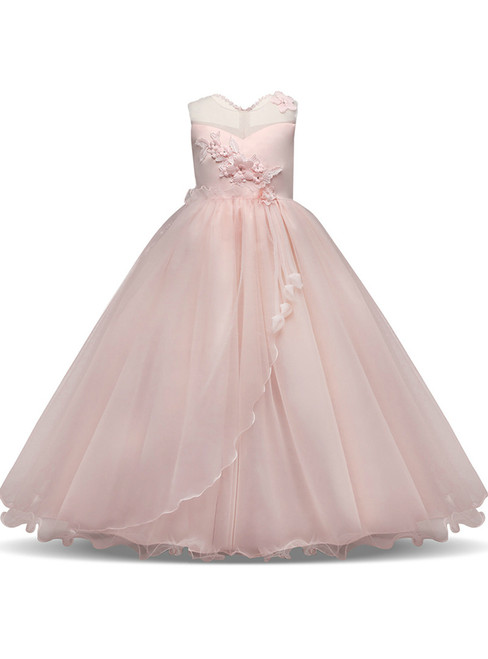 In Stock:Ship in 48 hours Pink Tulle Appliques Flower Girl Dress