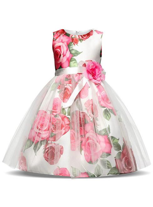 In Stock:Ship in 48 hours Print White Tulle Flower Girl Dress