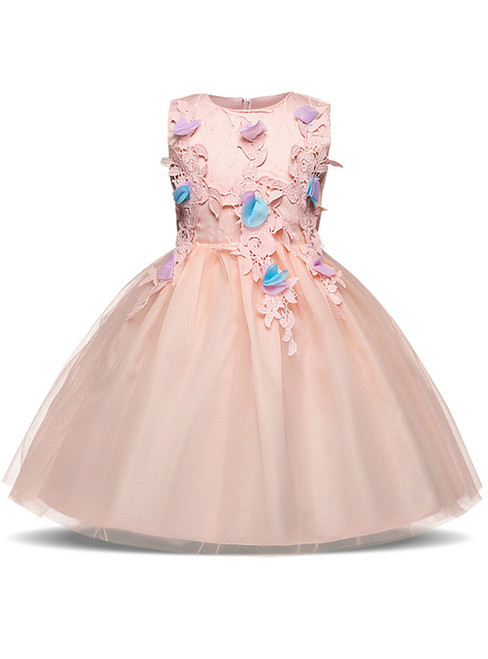 In Stock:Ship in 48 hours Pink Tulle Appliques With Bow Girl Dress