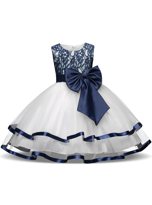 In Stock:Ship in 48 hours Blue Lace White Tulle Flower Girl Dress