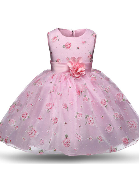 In Stock:Ship in 48 hours Pink Print With Flower Dress