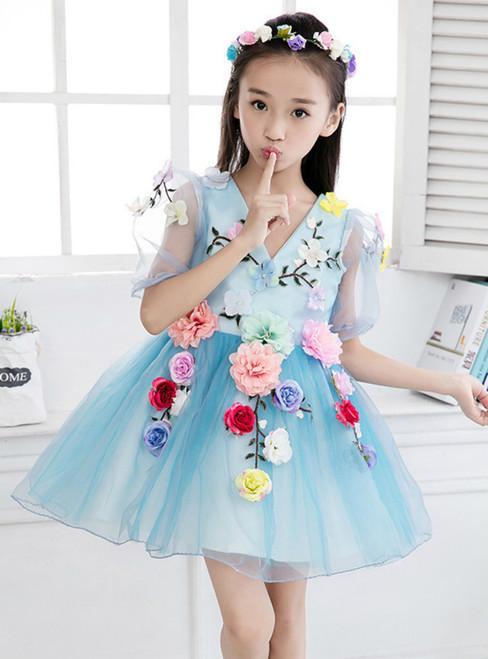 In Stock:Ship in 48 hours Blue Tulle Flower V-neck Flower Girl Dress