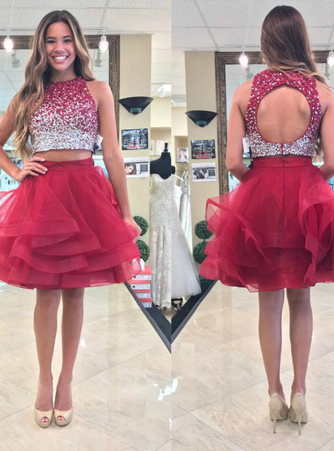 A-Line Red Tulle Two Piece Backless Sequins Homecoming Dress