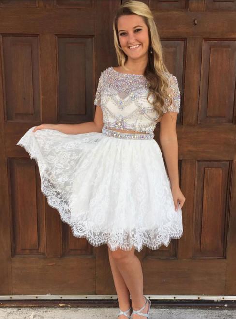 A-line Two Piece Shiny Rhinestone Lace Homecoming Dresses