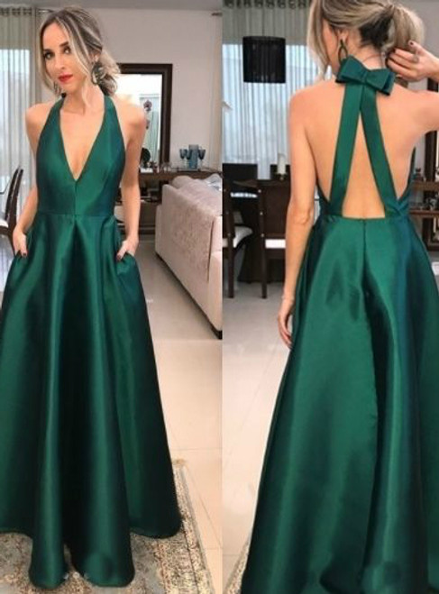 Fashion A-Line Green Satin Halter Backless Prom Dress