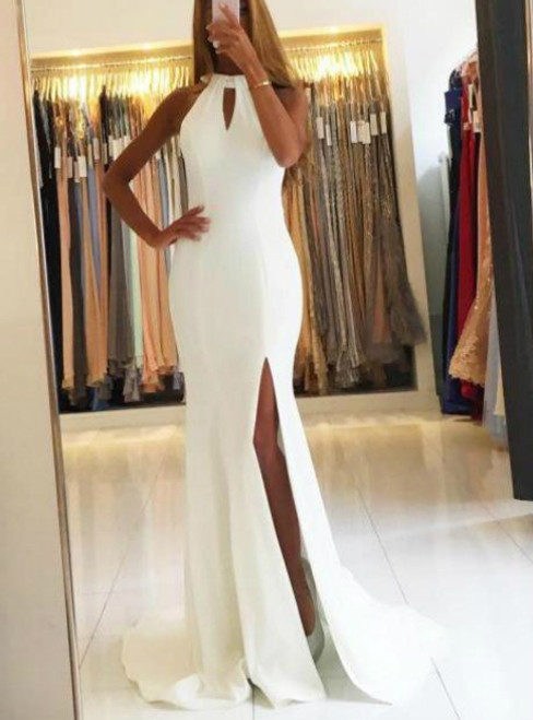 White Halter Mermaid Long Sweep Train Slit Side White Prom Dress