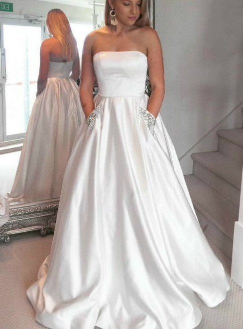 Strapless White Satin Floor Length With Pockets Prom Dress
