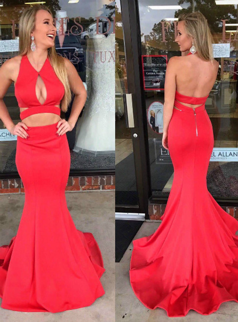 Sexy Red Mermaid Halter Satin Backless Prom Dress