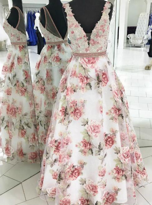 2775c2d6fdb Floral Print V-neck Backless Beaded Long Prom Dress