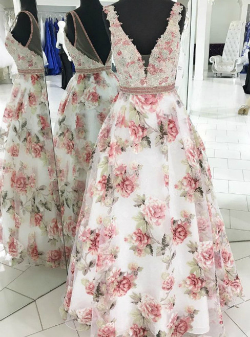 Floral Print V-neck Backless Beaded Long Prom Dress