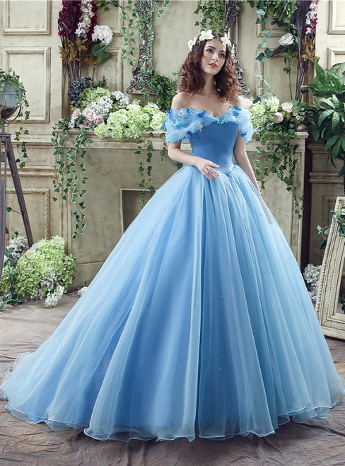 In Stock:Ship in 48 hours Blue Tulle Off The Shoulder Cinderella Wedding Dress