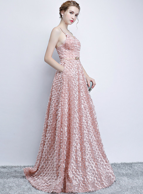 In Stock:Ship in 48 hours Sexy Pink Straps Backless Prom Dress