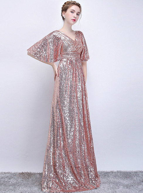 In Stock:Ship in 48 hours Pink Sequins V-neck Prom Dress