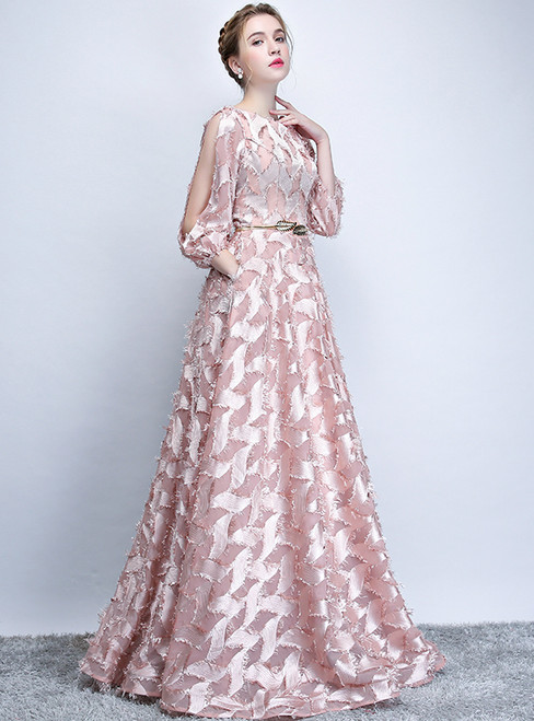 In Stock:Ship in 48 hours Pink Long Sleeve Lace With Sash Prom Dress