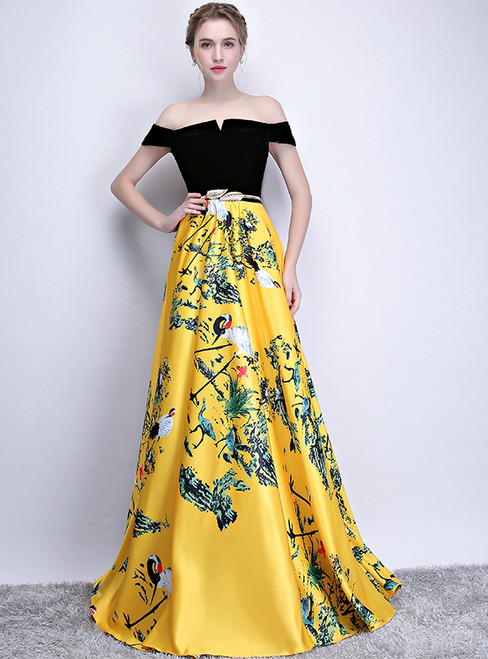 In Stock:Ship in 48 hours Yellow Satin Off The Shoulder Print Prom Dress