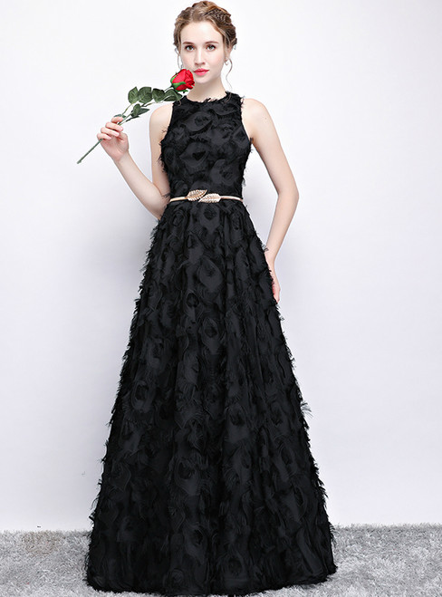 In Stock:Ship in 48 hours Black Sleeveless Lace Prom Dress