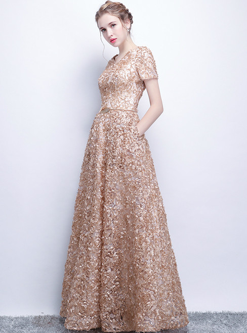 In Stock:Ship in 48 hours Gold Short Sleeve Prom Dress