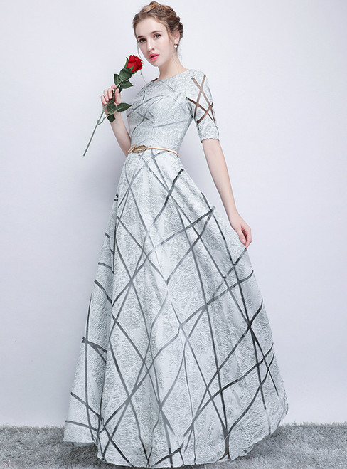 In Stock:Ship in 48 hours Silver Short Sleeve Lace Prom Dress