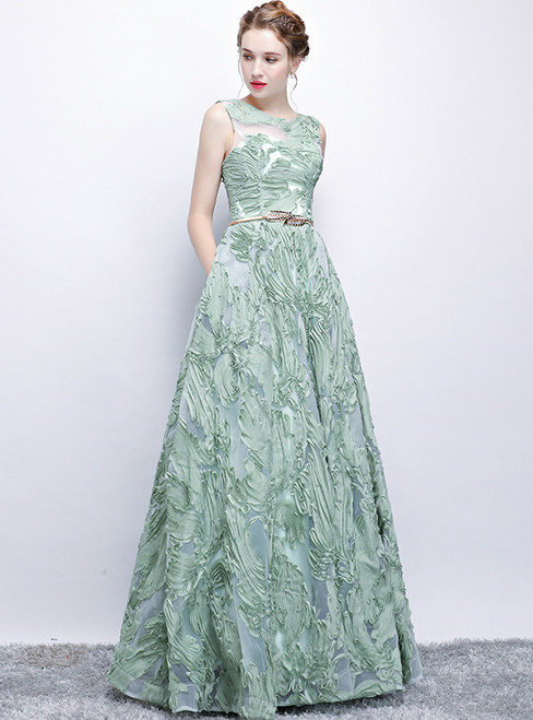 In Stock:Ship in 48 hours Green Lace Sleeveless Prom Dress
