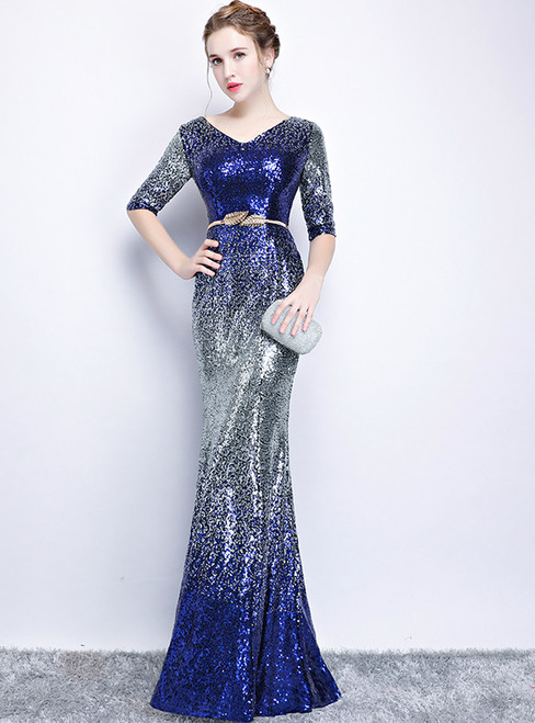In Stock:Ship in 48 hours Mermaid Blue Sequins  V-neck  Short Sleeve Prom Dress