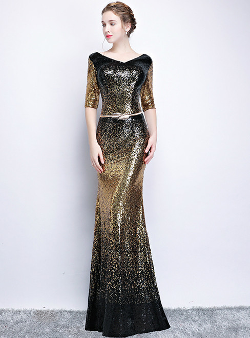 In Stock:Ship in 48 hours Mermaid Gold Black Sequins V-neck Short Sleeve Prom Dress