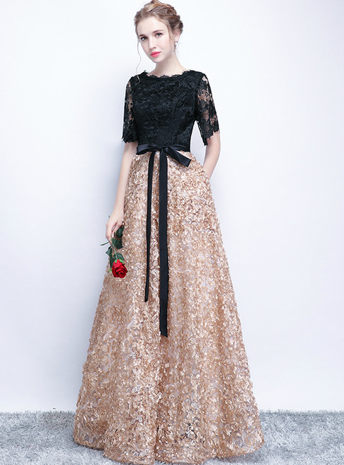 In Stock:Ship in 48 hours Gold Black Lace Short Sleeve Prom Dress