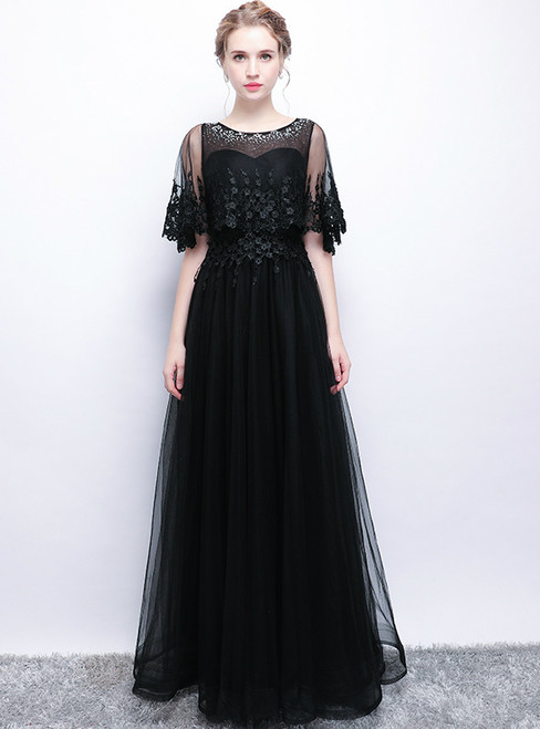 In Stock:Ship in 48 hours Black Tulle Lace Beading Prom Dress