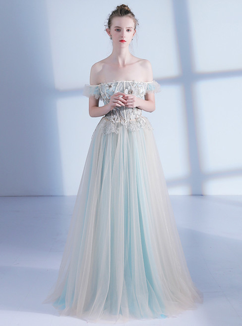 In Stock:Ship in 48 hours Off The Shoulder Tulle Backless Prom Dress