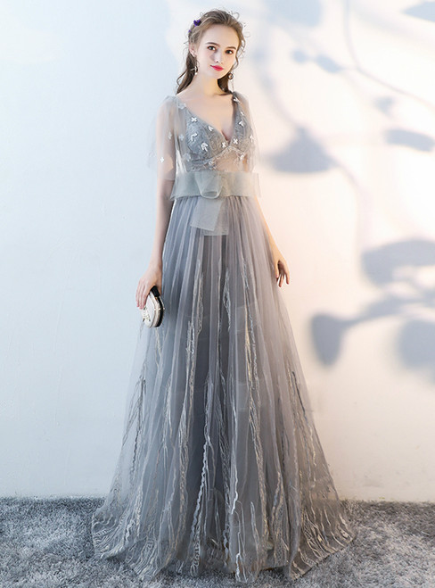 In Stock:Ship in 48 hours Gray Tulle V-neck Backless Prom Dress