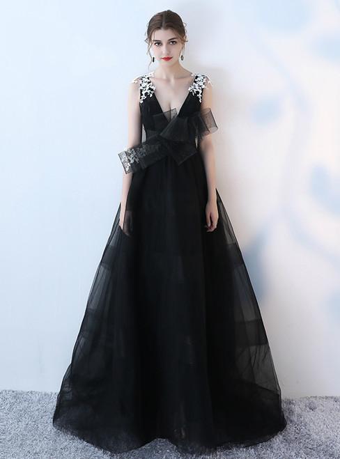 In Stock:Ship in 48 hours Black Deep V-neck Backless Prom Dress
